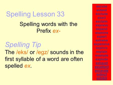 Spelling Lesson 33 Spelling words with the Prefix ex- excuse extend exclude exact exclaim express expand examine expert extreme expensive explore explain.
