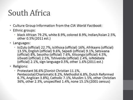 South Africa Culture Group Information from the CIA World Factbook: