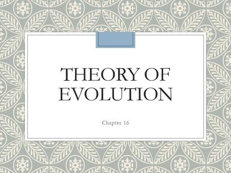 Theory of Evolution Chapter 16.