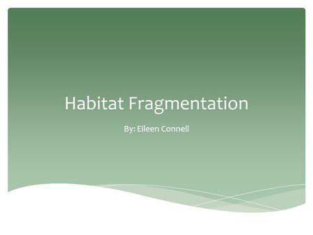 Habitat Fragmentation By: Eileen Connell. What is Habitat Fragmentation? Natural  Rivers  Volcanoes  Glacial Movement Anthropogenic (Human-Made) 