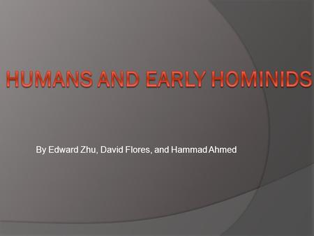Humans and early hominids