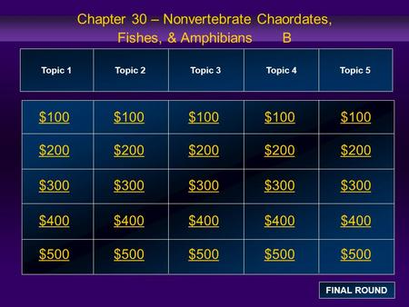 Chapter 30 – Nonvertebrate Chaordates, Fishes, & Amphibians B $100 $200 $300 $400 $500 $100$100$100 $200 $300 $400 $500 Topic 1Topic 2Topic 3Topic 4 Topic.