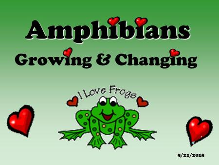 "Amphibians Growing & Changing 5/21/2015. Table of Contents Frog & Toad Facts Life Cycle of the Frog/Toad Weird Frog & Toad Facts! Hop into Reading!! ""Froggy"""