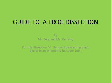 GUIDE TO A FROG DISSECTION By Mr. Berg and Ms. Cerletty For this dissection Mr. Berg will be wearing black gloves in an attempt to be super cool.