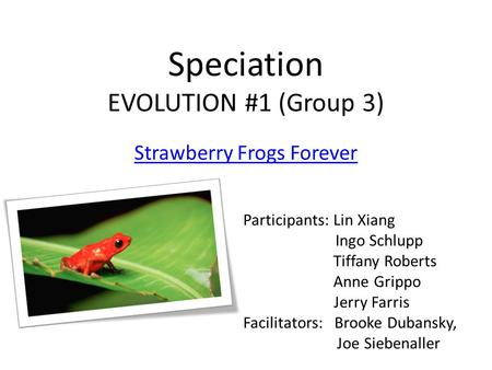 Speciation EVOLUTION #1 (Group 3) Strawberry Frogs Forever Participants: Lin Xiang Ingo Schlupp Tiffany Roberts Anne Grippo Jerry Farris Facilitators: