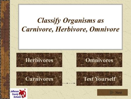 Classify Organisms as Carnivore, Herbivore, Omnivore Herbivores Carnivores Omnivores Test Yourself Next.