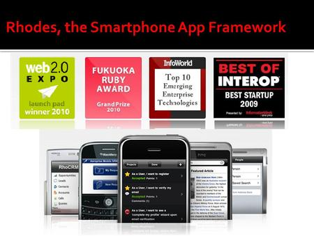 Rhodes, the Smartphone App Framework. Background  Smartphone sales are exploding  Six major smartphone operating systems: iPhone, BlackBerry, Windows.