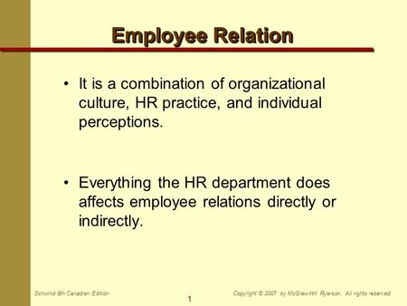 1 Copyright © 2007 by McGraw-Hill Ryerson. All rights reserved.Schwind 8th Canadian Edition Employee Relation It is a combination of organizational culture,