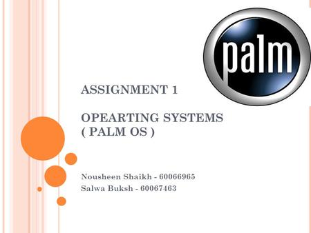 ASSIGNMENT 1 OPEARTING SYSTEMS ( PALM OS ) Nousheen Shaikh - 60066965 Salwa Buksh - 60067463.