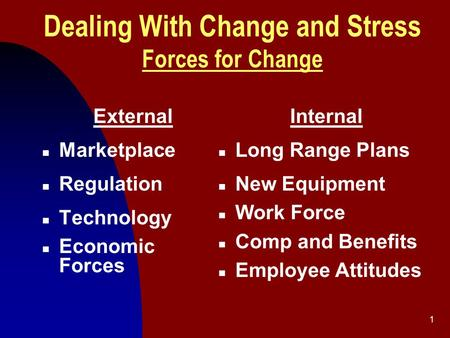 1 Dealing With Change and Stress Forces for Change External n Marketplace n Regulation n Technology n Economic Forces Internal n Long Range Plans n New.