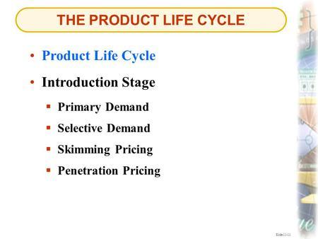 THE PRODUCT LIFE CYCLE Slide 11-11 Product Life Cycle  Primary Demand Primary Demand Introduction Stage  Selective Demand Selective Demand  Skimming.