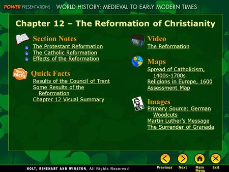 Chapter 12 – The Reformation of Christianity