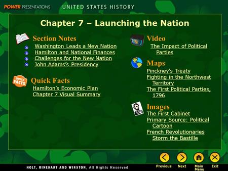 Chapter 7 – Launching the Nation Section Notes Washington Leads a New Nation Hamilton and National Finances Challenges for the New Nation John Adams's.