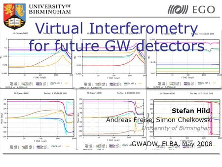 Stefan Hild, Andreas Freise, Simon Chelkowski University of Birmingham GWADW, ELBA, May 2008 Virtual Interferometry for future GW detectors.