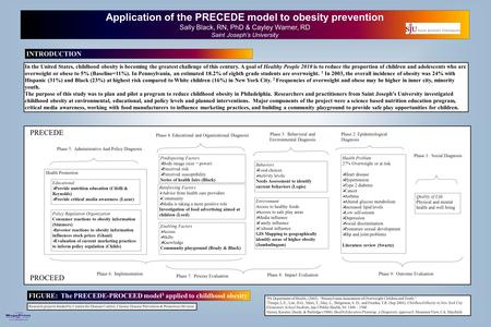 Printed by www.postersession.com Application of the PRECEDE model to obesity prevention Sally Black, RN, PhD & Cayley Warner, RD Saint Joseph's University.