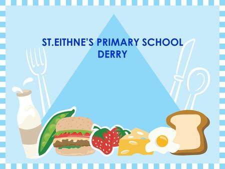ST.EITHNE'S PRIMARY SCHOOL DERRY. HEALTH PROMOTION INITIATIVE  School background * location * enrolment  Reasons for involvement in HPI * new start.