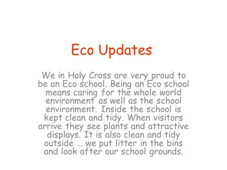 Eco Updates We in Holy Cross are very proud to be an Eco school. Being an Eco school means caring for the whole world environment as well as the school.