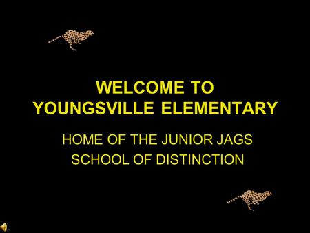 WELCOME TO YOUNGSVILLE ELEMENTARY HOME OF THE JUNIOR JAGS SCHOOL OF DISTINCTION.