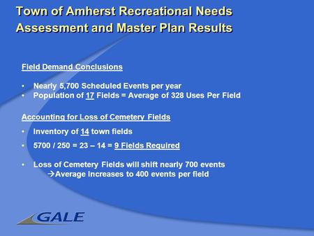 Town of Amherst Recreational Needs Assessment and Master Plan Results Field Demand Conclusions Nearly 5,700 Scheduled Events per year Population of 17.