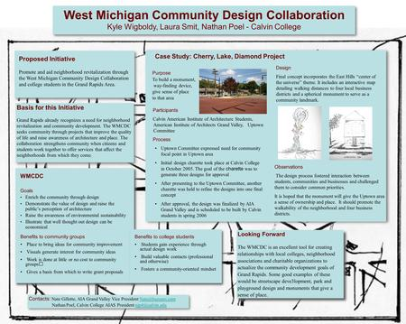 West Michigan Community Design Collaboration Kyle Wigboldy, Laura Smit, Nathan Poel - Calvin College Proposed Initiative Promote and aid neighborhood revitalization.