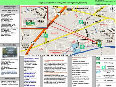 Simple Evacuation Chart of Nanjhih Vil., Sinying District, Tainan City Disaster Prevention & Weather Information Websites ◎ Weather Voice Hotline 『 166.