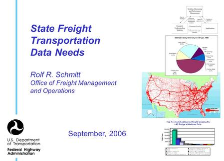 State Freight Transportation Data Needs Rolf R. Schmitt Office of Freight Management and Operations September, 2006.