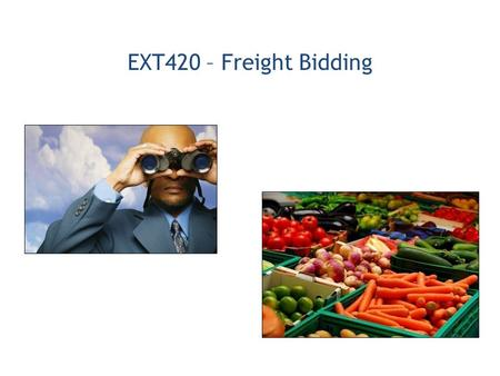 EXT420 – Freight Bidding. 1.International Procurement Process Overview 2.Create and use an International Freight Preference Bid Response (Offer/Quote)