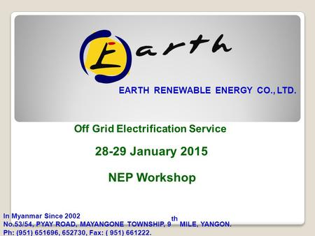 28-29 January 2015 NEP Workshop Off Grid Electrification Service