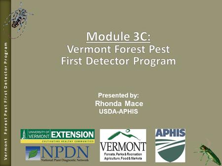Vermont Forest Pest First Detector Program Forests, Parks & Recreation Agriculture, Food & Markets Presented by: Rhonda Mace USDA-APHIS.