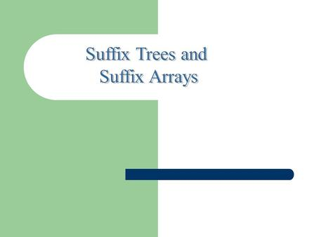 OUTLINE Suffix trees Suffix arrays Suffix trees Indexing techniques are used to locate highest – scoring alignments. One method of indexing uses the.