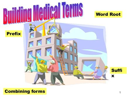 1 Building Medical Terms Word Root Prefix Suffi x Combining forms.