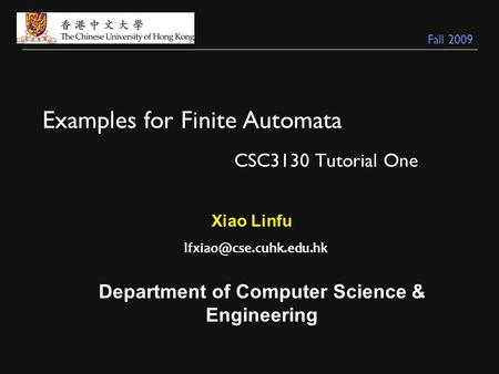 Examples for Finite Automata