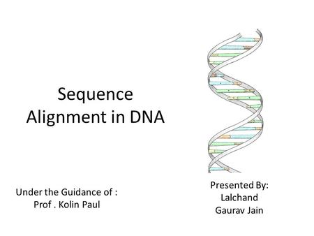 Sequence Alignment in DNA Under the Guidance of : Prof. Kolin Paul Presented By: Lalchand Gaurav Jain.