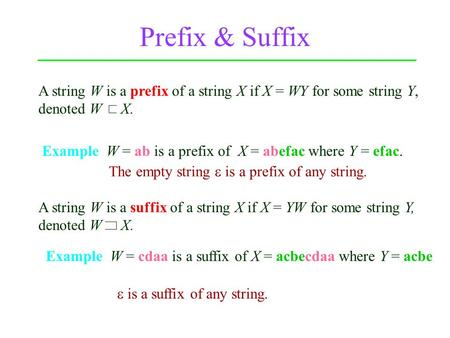 Prefix & Suffix Example W = ab is a prefix of X = abefac where Y = efac. Example W = cdaa is a suffix of X = acbecdaa where Y = acbe A string W is a prefix.