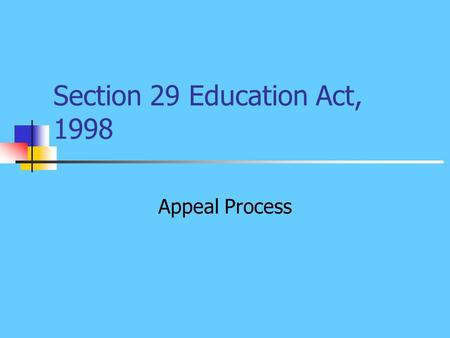 Section 29 Education Act, 1998 Appeal Process. Grounds for Appeal Exclude a pupil permanently Suspension of 20 days in any one school year Refusal to.