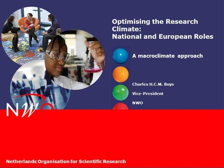 Netherlands Organisation for Scientific Research Optimising the Research Climate: National and European Roles A macroclimate approach Charles H.C.M. Buys.