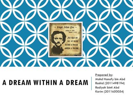 A DREAM WITHIN A DREAM Prepared by: Mohd Hanafy bin Abd Rashid (2011498194) Radiyah binti Abd Karim (2011650054)