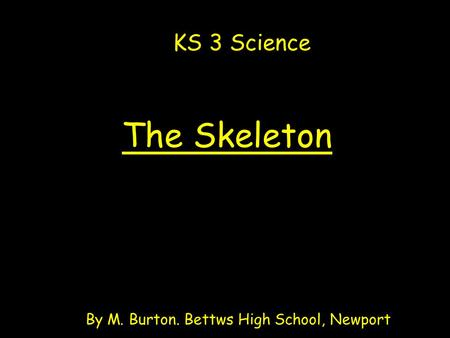 The Skeleton By M. Burton. Bettws High School, Newport KS 3 Science.