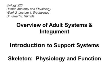 Biology 223 Human Anatomy and Physiology Week 2; Lecture 1; Wednesday Dr. Stuart S. Sumida Overview of Adult Systems & Integument Introduction to Support.