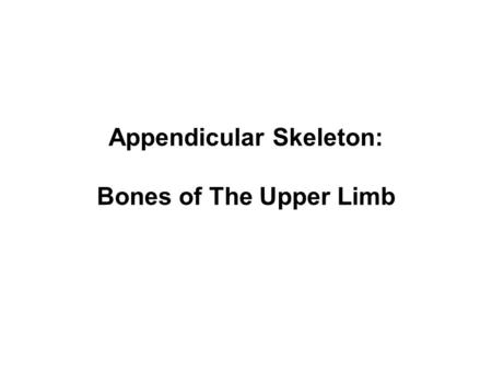 Appendicular Skeleton: Bones of The Upper Limb