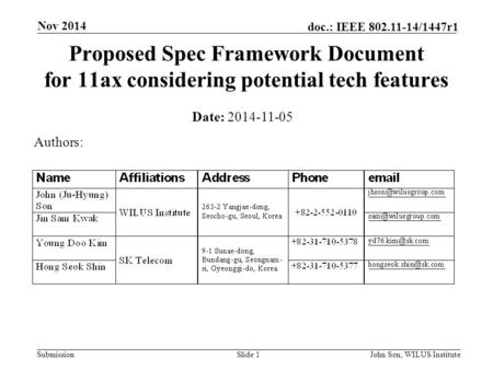 Submission doc.: IEEE 802.11-14/1447r1 Nov 2014 John Son, WILUS InstituteSlide 1 Proposed Spec Framework Document for 11ax considering potential tech features.