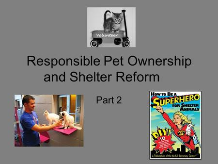 Responsible Pet Ownership and Shelter Reform Part 2.