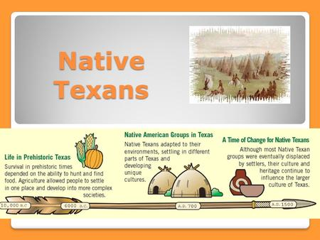 Native Texans. Warm up: ISN pg. 20 Answer in complete sentences!!! 1.Describe the geographic location of your town. 2.How does your lifestyle reflect.