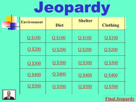 Jeopardy Environment Diet Shelter Clothing Q $100 Q $200 Q $300 Q $400 Q $500 Q $100 Q $200 Q $300 Q $400 Q $500 Final Jeopardy.