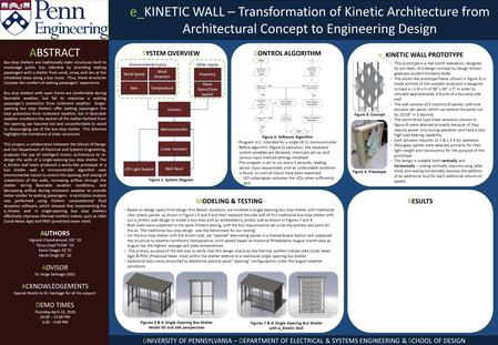E_KINETIC WALL – Transformation of Kinetic Architecture from Architectural Concept to Engineering Design ABSTRACT Bus stop shelters are traditionally static.