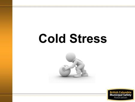 Cold Stress. Training Objectives By the end of the session you will: Know what cold stress is Understand the WorkSafeBC Regulations Understand the risks.