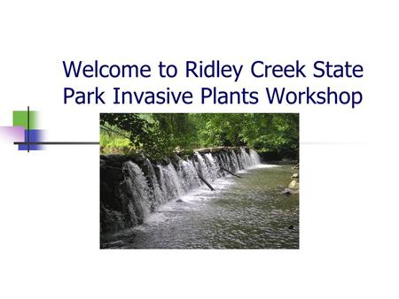 Welcome to Ridley Creek State Park Invasive Plants Workshop.