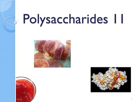 Polysaccharides 11 1. Pectin Pectic substances ◦ Middle lamellae of plant cell walls ◦ Functions to move H 2 O and cement materials for the cellulose.