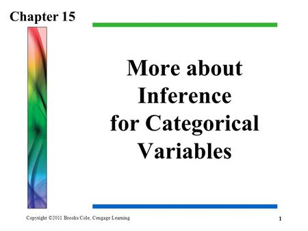 Copyright ©2011 Brooks/Cole, Cengage Learning More about Inference for Categorical Variables Chapter 15 1.