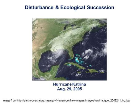 Hurricane Katrina Aug. 29, 2005 Disturbance & Ecological Succession Image from